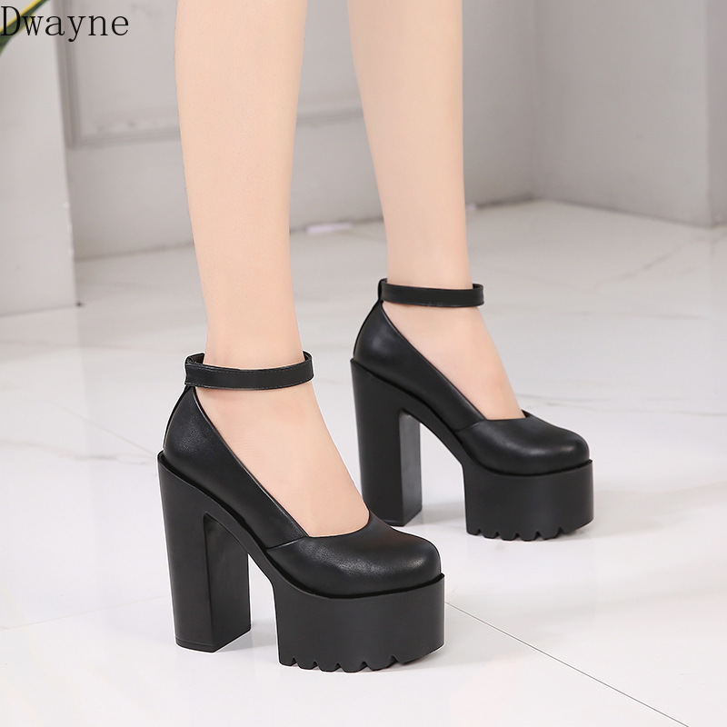 New Thick With 14 Cm Platform High Heels Black White Super High-heeled Shallow Mouth Nightclub Catwalk Women's Single Shoes 2020