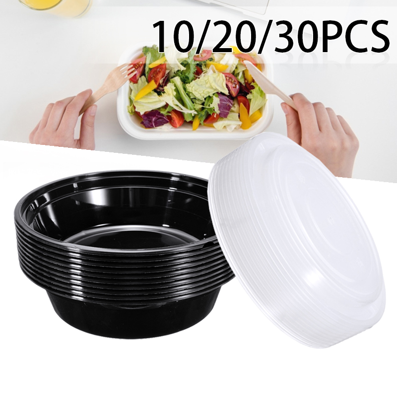 10/20/30pcs/set Plastic Food Containers With Lids Portable Meal Prep Containers Lunch Box Round Lunch Container