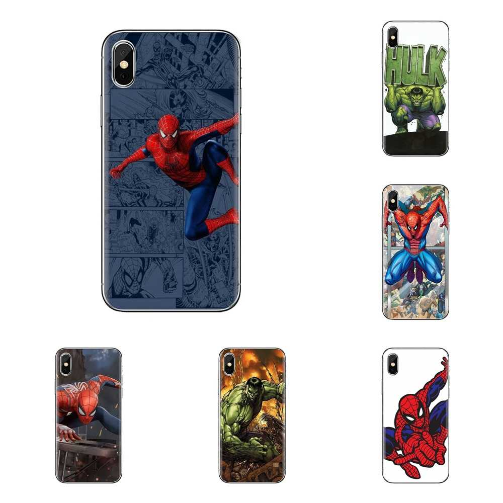 สำหรับ iPhone XS Max XR X 4 4S 5 S 5C SE 6 6S 7 8 Plus samsung Galaxy J1 J3 J5 J7 A3 A5 Spider Man Marvel Hulk ซิลิโคน