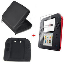 Black EVA Protector Hard Travel Carry Case cover Pouch bag+Clear Touch Seal Film Screen Guard+Silicone Case for nintendo 2DS black softy game carry package case cover pouch sleeve bag for nintendo 3ds console