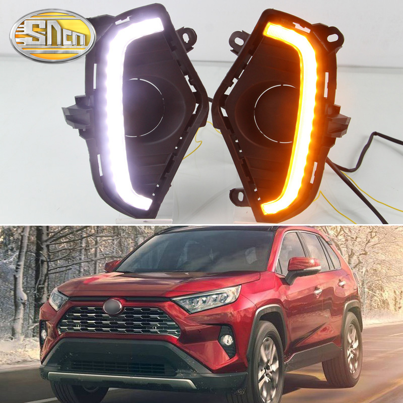 For Toyota RAV4 2019 2020 Yellow Turn Signal Function Waterproof ABS 12V Car DRL LED Daytime Running Light With Fog Lamp Hole