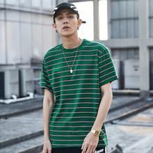 Harajuku Striped T Shirt Men Short Sleeve Tops SF