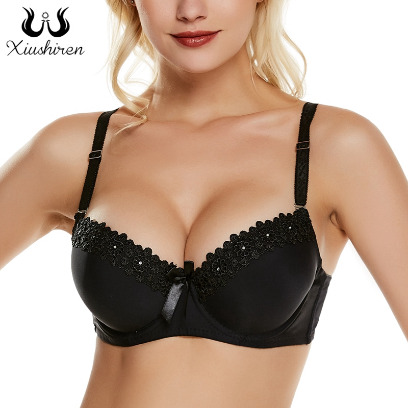 Xiushiren Thick Mold Cup Shaped Padded Bra Double Push Up Underwear Full Support Sexy Teens Girls Bra Top Plus 36-42 A B C Cup