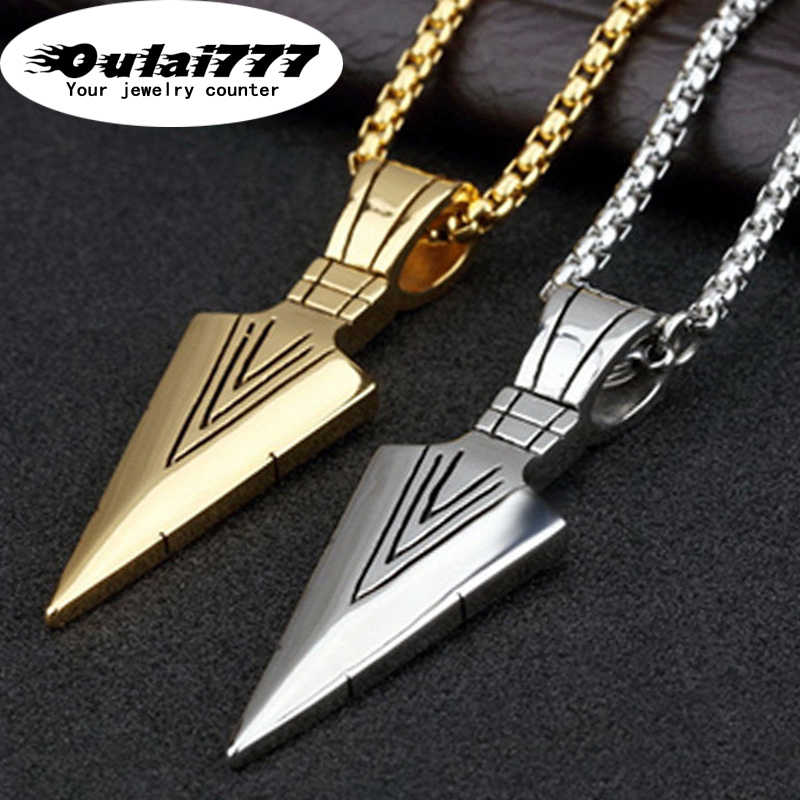 oulai777 2019 stainless steel  men spearhead necklaces & pendants hip hop chain male gold accessories pendant men's necklace