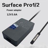 12v3. 6a 48 w carregador linha 5v1a microsoft surface pro1/2 1536 1514 adaptador de energia do computador