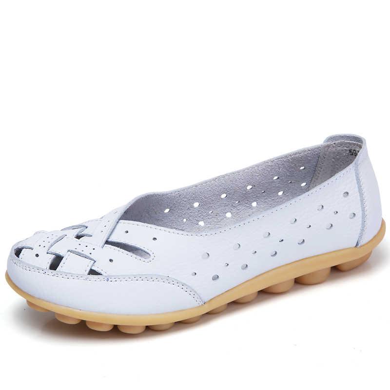 2020 Phụ Nữ Mùa Hè Ba Lê Đế Bằng Da Thật Cho Nữ Giày Slip On Gót Bằng Giày Nữ Cho Nữ Giày Ballerina Đế Bằng Nữ 1165