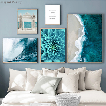 Nordic Decoration Poster and Prints Life Quote Flower Sea Landscape Wall Art Canvas Painting Decorative Picture Home Decor