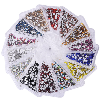 350pcs ss3-ss30 Mix Sizes Nail Art Non HotFix Crystal Rhinestone,Flatback 3D Glass Non Hot Fix Rhinestones Nail Decoration