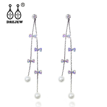 DREJEW Butterfly Pearl Gold Crystal Long Tassel Statement Earrings 2019 925 Drop Sets for Women Wedding Jewelry HE649