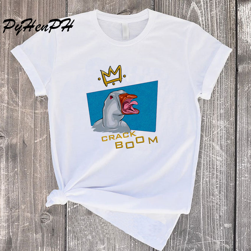 New 2020 Fashion Crack Boom T Shirt Women King Of Goose T-shirt Oversize  Woman Clothes Funny Tee Shirt Femme Tumblr Clothing