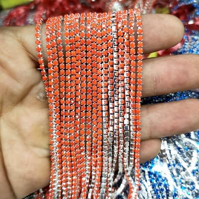 1 ярд/шт, 30 цветов, стеклянные хрустальные стразы на цепочке, Серебряное дно, Пришивные цепочки для рукоделия, украшения сумок для одежды - Цвет: Porcelain red