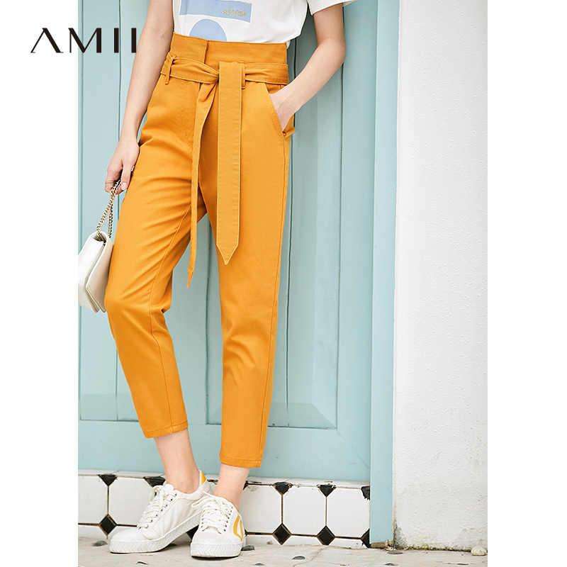Amii минималистичные джинсы с высокой талией, Летние Женские однотонные узкие брюки с поясом, женские узкие брюки 11930081