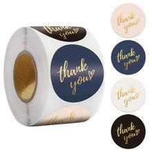 Étiquettes autocollantes merci 1 pouce, 100 – 500 pièces, autocollant décoratif en papier feuille d'or pour cadeau de mariage fait à la main, papeterie