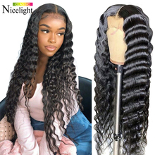 Wig Lace Closure Human-Hiar Lace-Front Remy-Wig Baby-Hair Pre-Plucked Nicelight Indian