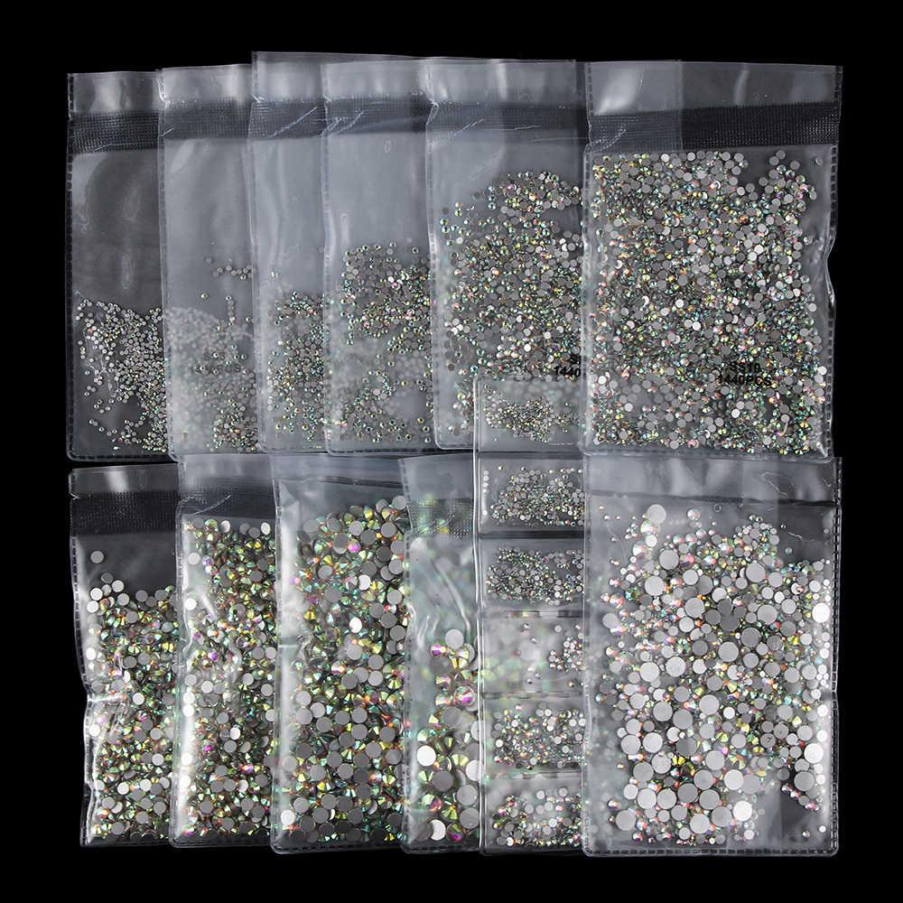 1 Gói Nhiều Màu Sắc Siêu Sáng Bóng Lấp Lánh 3D Crystal AB Kính Phẳng Phối Ren Lưng Không Nóng Sửa DIY Bộ Dụng Cụ Làm Móng nghệ Thuật Trang Trí