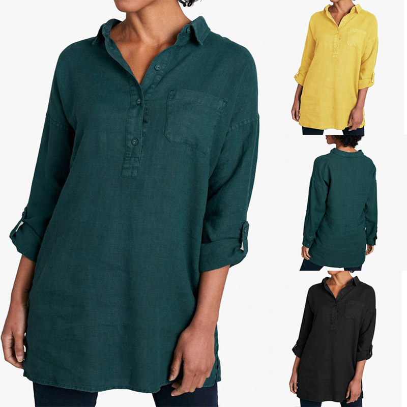ZANZEA 2020 Autumn Solid Shirt Women Office Blouses Turn Down Collar Buttons Casual Elegant Blusas Femininas Work Tops Plus Size