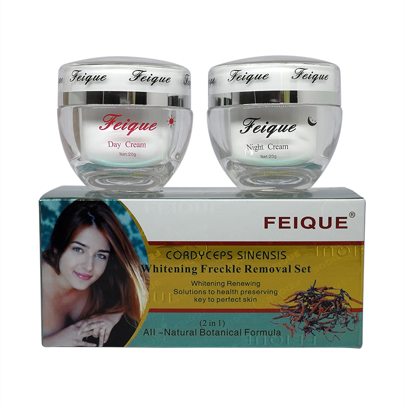 Wholesale New Arrival FEIQUE Cordyceps Sinensis Whitening Anti Freckle Cream 20g+20g Facial Cream 4sets/lot Face Care