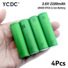 3.6 V 볼트 녹색 평면 18650 리튬 이온 리튬 배터리 높은 드레인 2100mAh US18650VTC4 VTC4 18650 Batetry 1/2/4/6/8/10 Pcs