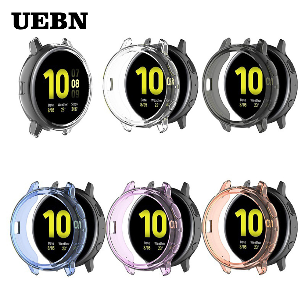 UEBN TPU silicone Anti-fall protective case for Samsung galaxy watch active 2 44mm 40mm SM-R830 R820 Replacement Cover