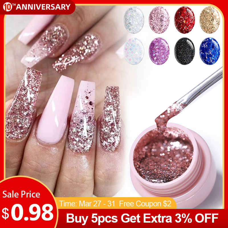UR Gula Glitter Uv Gel Nail Polish Super Bersinar Platinum UV Nail Gel Varnish Semi Permanen Hybrid Nail Varnish LED bahasa Polandia