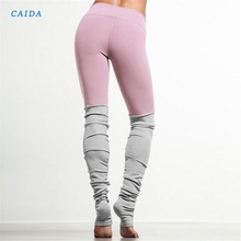 CAIDA Sport Patchwork Yoga Pants Fitness Skinny Running Tights Yoga Leggings Women Fitness Tights Workout Running Pants running tights
