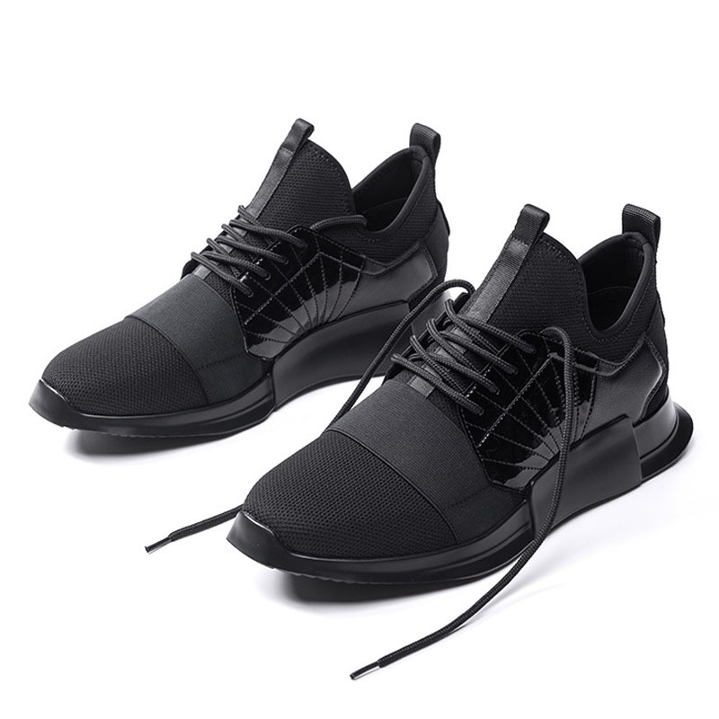 New Spring Autumn 2020 Black Thick Platform Mens Footwear Breathable Men Shoes Genuine Leather Sequins Lace Up Man Shoes US6-9