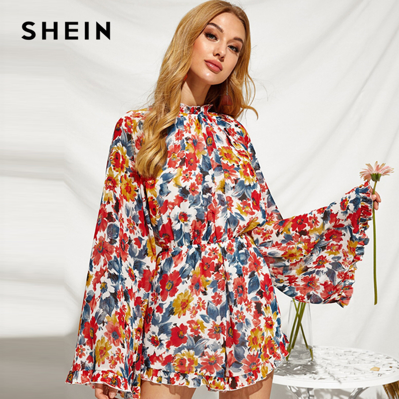 SHEIN Stand Collar Floral Print Frill Boho Romper Jumpsuit Women Autumn Holiday Flounce Sleeve Knot Backless Wide Leg Jumpsuits