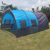 Grande tente de Camping toile imperméable fibre de verre 5 8 personnes famille Tunnel 10 personnes tentes équipement extérieur alpinisme fête