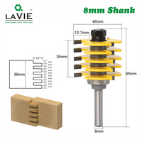LAVIE 1pc 8mm Shank 3 Teeth Adjustable Finger Joint Router Bit Tenon Milling Cutter Industrial Grade for Wood Tool