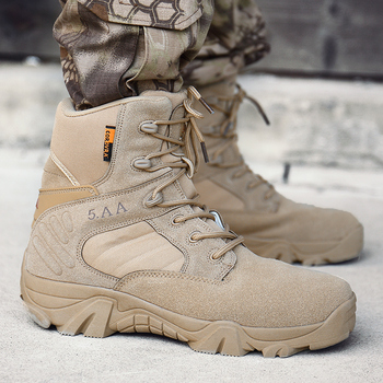 Mens Boots Military Tactical Special Force Leather Waterproof Desert Combat Ankle Boot Army Work Men's Shoes Plus Size 39-47 vast wave suede army boot canvas men s military boot male shoes safety motocycle boots combat mens soldier ankle boot tactical 2