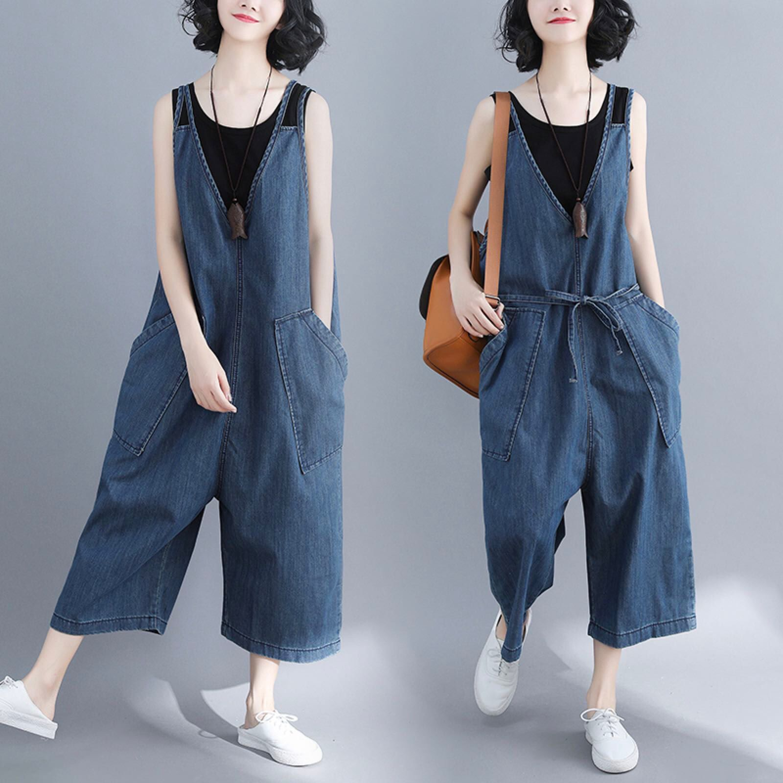 2018 New Style Large Size Dress Korean-style Literature And Art Shoulder Strap Jeans If6887