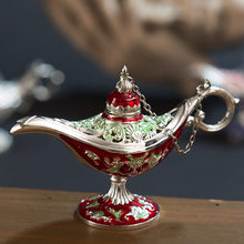 Incense Burner Vintage Oil Tea Pot Decor Carved Aladdin Lamp Arts Traditional Zinc Alloy Ornaments Retro Home Gift Crafts(China)