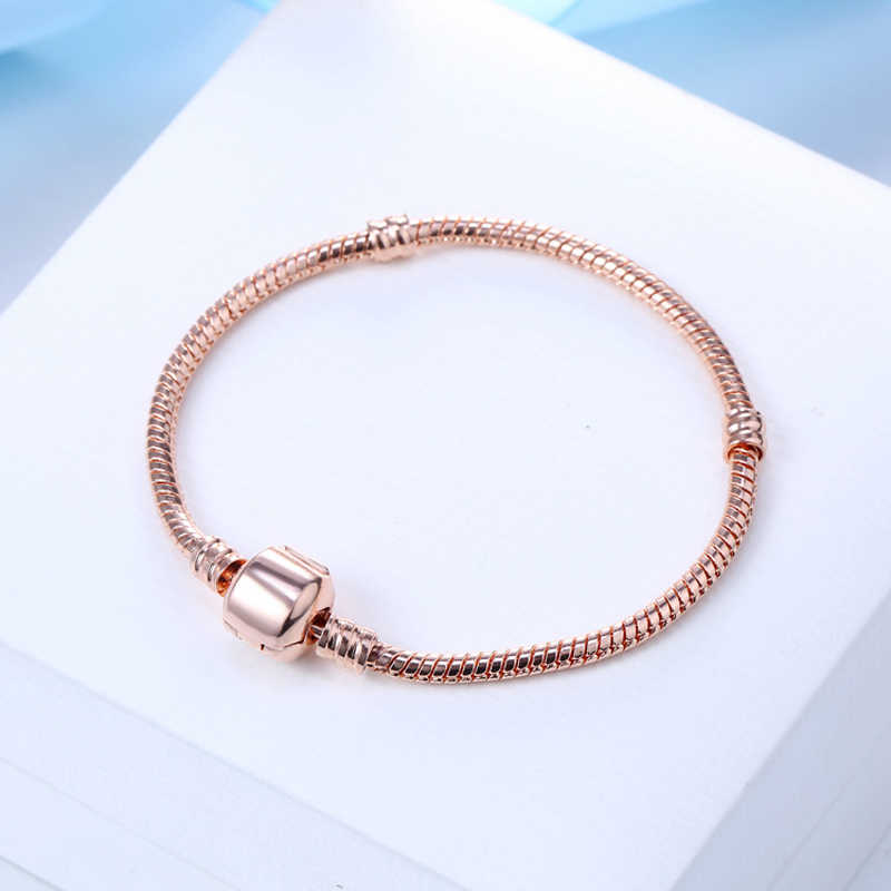 90% OFF! แบบดั้งเดิม 925 Solid Silver Rose Gold สี Charm สร้อยข้อมือนุ่ม/เรียบงูสร้อยข้อมือสำหรับสตรี SL006