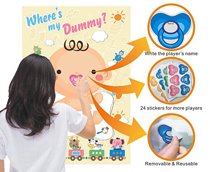 Baby Shower Game Pin The Dummy on The Baby Pacifier Stickers Party Favors for Gender Neutral Boy or Girl image
