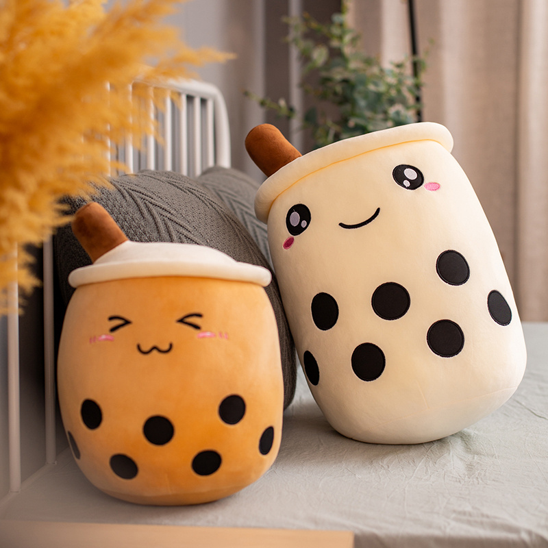 25-50cm Cartoon Bubble Tea Cup Shaped Pillow Real-life Stuffed Soft Back Cushion Funny Food Gifts For Kids Birthday