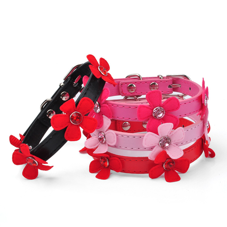 PU Pet Collar Acrylic Man-made Diamond Sunflowers Decoration Dog Neck Ring Pet Supplies Dog Chain