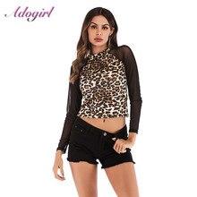 Sexy Leopard Print Mesh Shirt Women Autumn Casual Chiffon Long Sleeve Turtleneck Blouse Basis Streetwear Tee Ladies Tops