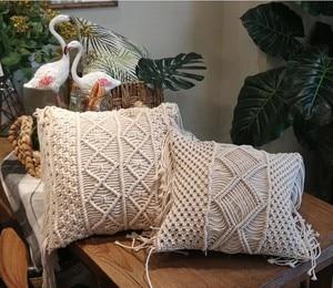 Image 3 - 45*45cm 100% Cotton Linen Macrame Hand woven Cotton Thread Pillow Covers Geometry Bohemia Cushion Covers Home Decor