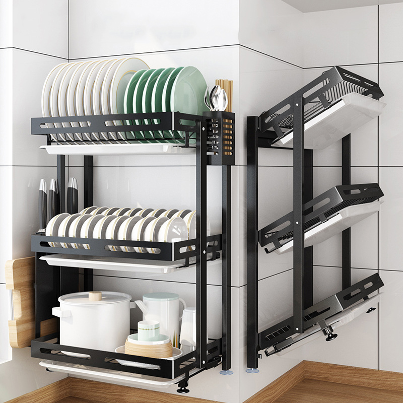 new foldable 2 3 layer punch free dish drying rack stainless steel wall mounted bowl plate rack drain shelf kitchen organizer