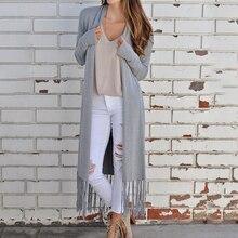 цена на Women\'s Solid Color Long Coat Cloak Tassel Long Sleeve Knit Cardigan Coat Women Shirt MM
