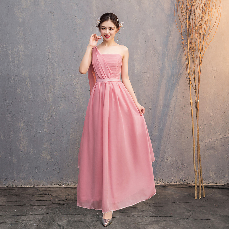 A-Line Long Chiffon Dress Sleeveless Maid Of Honor Dresses For Weddings Party Vestido Azul Marino Pink Bridesmaid Dress Elegant
