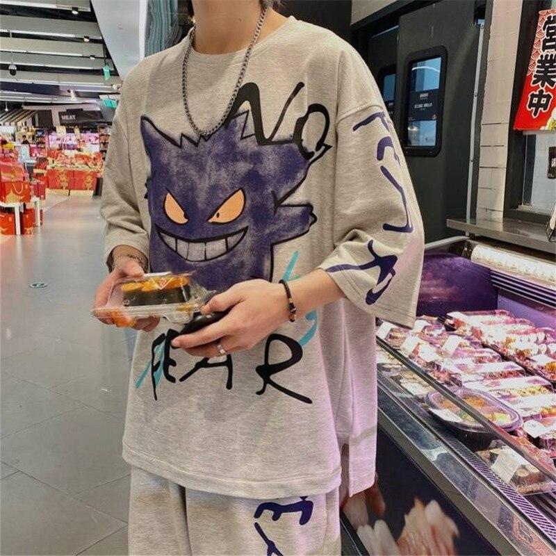 Hip Hop Pokemon T Shirt Streetwear Summer Cartoon T-shirt Casual Tshirt Streetwear Men Tops Amine Short Sleeve Tees Shirts Males