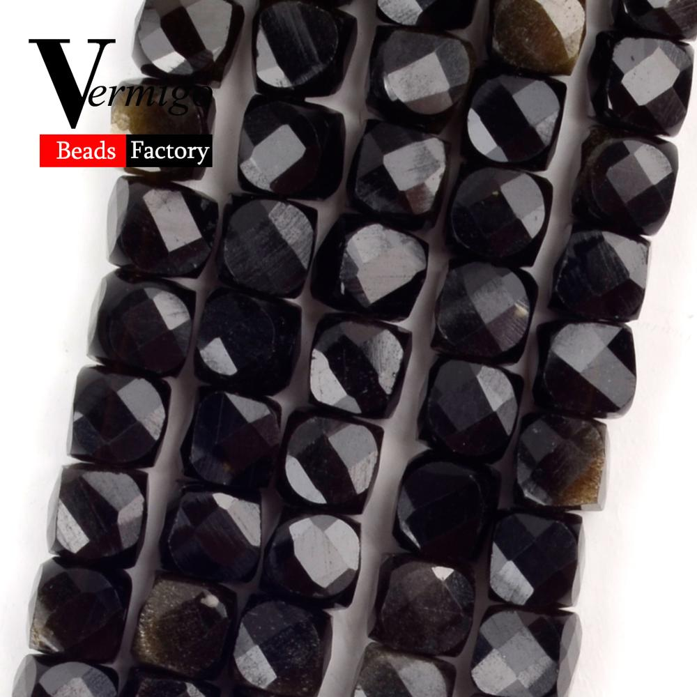 5mm Faceted Golden Obsidian Square Beads Natural Stone Beads for Needlework Jewelry Making Diy Bracelet Accessories
