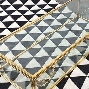 Image 3 - Golden Golden Vintage Glass Lidded Box Edge Bracelet Keepsake Decorative Jewelry Display Personalized Large Clear Rectangle Box