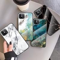 Mode Bunte Marmor Glas Shell Telefon Fall Für iPhone 11 12 Pro 12 Mini X XR XS Max SE 2020 7 8 Plus Stoßfest Weiche Abdeckung