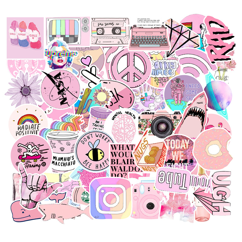 Vsco Stickers Things 53 PCS Pack Pink Cool Girl Stickers For Laptop Fridge Phone Skateboard Suitcase Sticker Toys For Children