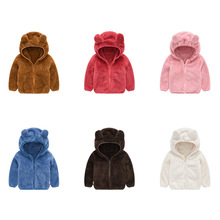 Fashion children winter clothes cute ears hooded jacket coat solid color boy girl sweater coat toddler jacket Kids warm coats children girls baby cute ears quilted cotton baby clothes winter girl coat clothing fashion hot sale warm boy jacket