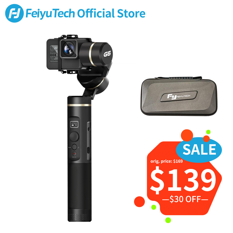 FeiyuTech Feiyu G6 Splashproof Gimbal Action Camera Stabilizer Update of G5 with OLED Screen for Gopro Hero 6 5 Sony RX0