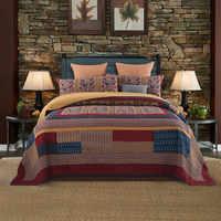 Vintage Washed Cotton Summer Quilt Set Patchwork Bedspread Quilted King Oversized Bed Cover Handmade Reversible Coverlet 3 pcs