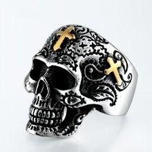 FDLK-bague Vintage gothique pour homme, anneau amusant, motif fleur, rétro, crâne, sucre, crâne, motard classique, à la mode